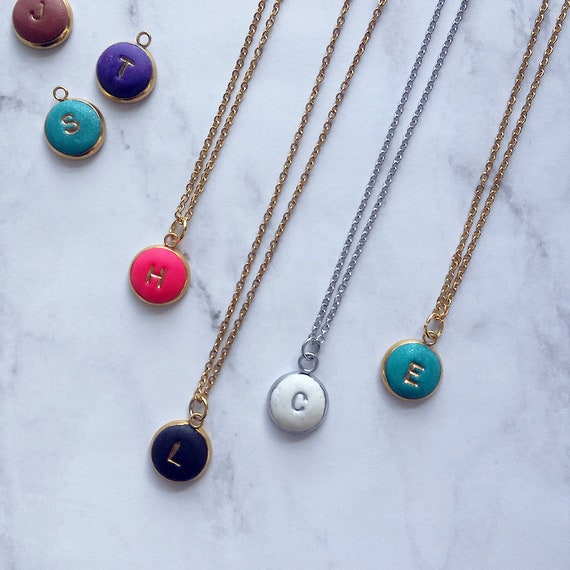 Small Initial Charm Necklace