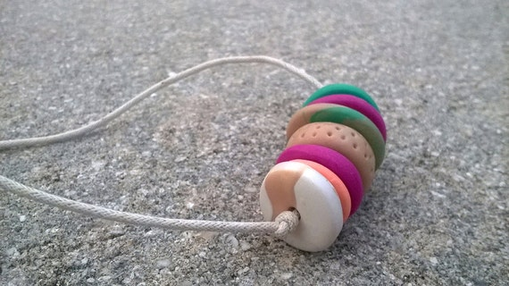 Colorful Clay Bead Necklace    Clay Disc Beads    Polymer Clay Necklace    Orange / Teal / White / Neutral / Fuchsia / Swirl