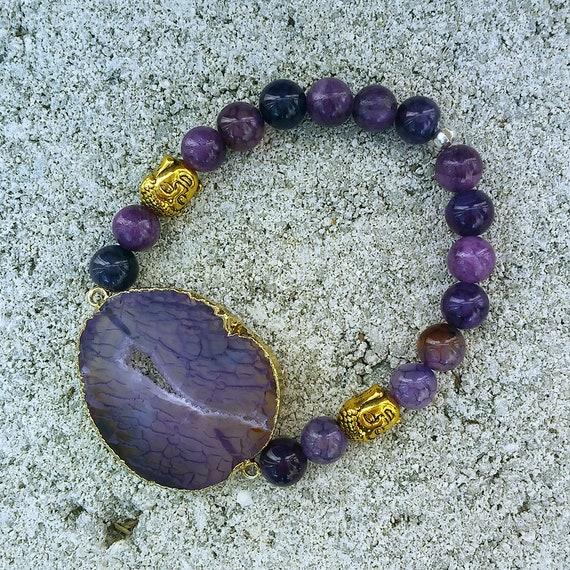 Purple Agate Buddha Beaded Druzy Bracelet