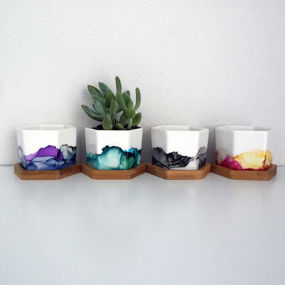 Jewel Colored Mini Painted Planters