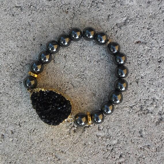 Druzy Agate & Hematite Beaded Bracelet