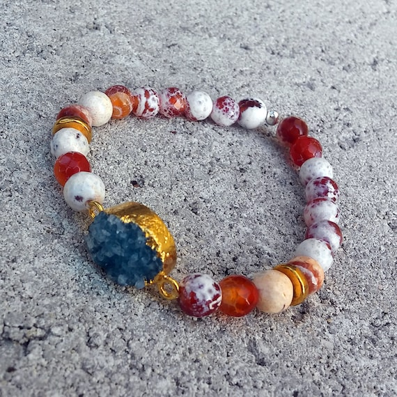 Faceted Fire Agate Beaded Druzy Bracelet