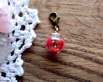 Glass globes stitch markers with shiny  stars or gumballs