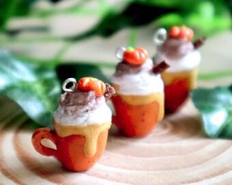 PREORDER Pumpkin spice latte halloween autumn knitting crochet Progress Keeper; food kawaii charm; stitch marker; Polymer clay charms