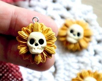 PREORDER Skull sunflower halloween autumn knitting crochet Progress Keeper; food kawaii charm; stitch marker; Polymer clay charms