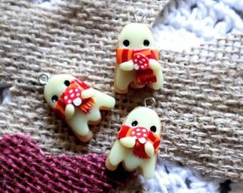 Toadstool ghost sugar cookie baking knitting crochet Progress Keeper; food kawaii charm; stitch marker; Polymer clay charms