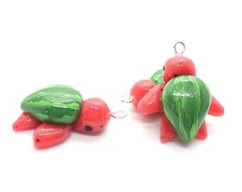 Watermelon Sea Turtle fruit Progress Keeper; garden kawaii charm; stitch marker; Polymer clay charms