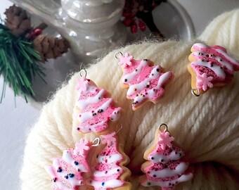 PREORDER pink Sprinkle tree christmas cookie food kawaii polymer clay charm; knitting stitch marker; crochet progress keeper