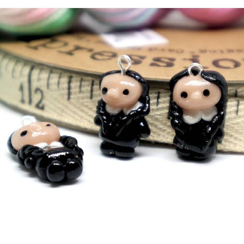 Goth girl Progress Keeper; kawaii charm; stitch marker; Polymer clay charms knitting crochet
