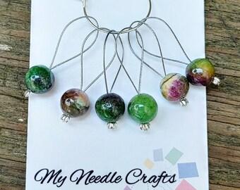 Knitting Stitch Markers with semi precious Dyed Quarts imitation Ruby Kyanite beads, Snag Free Beaded Knitting Stitch Markers - Set of 6