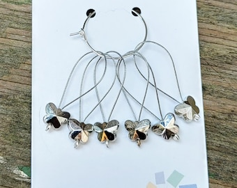 Butterfly Knitting Stitch Markers, Snag Free, Set of 6 silver tone stitch markers