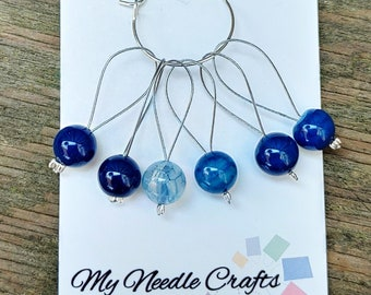 Knitting Stitch Markers with semi precious Blue Crackle Agate beads, Snag Free Beaded Knitting Stitch Markers - Set of 6