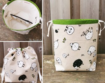 Sheep Print Drawstring Shawl size Knitting Bag, Project Bag for two at a time knitting or colour work