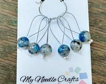 Knitting Stitch Markers with semi precious K2 Stone beads, Snag Free Beaded Knitting Stitch Markers - Set of 6