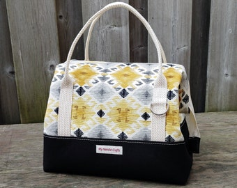Knit Night Bag in black canvas and yellow aztec print cotton, Wire frame project bag for knitting or crochet on the go, Retreat Bag