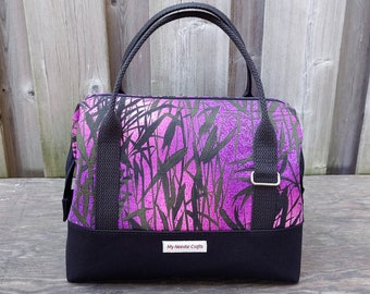 Knit Night Bag in Purple Grasses Print with black canvas, Retreat Bag, Wire frame project bag for knitting or crochet on the go