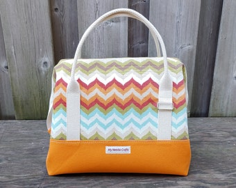 Knit Night Bag in tangerine orange canvas with chevron print cotton, Wire frame project bag for knitting or crochet on the go, Retreat Bag