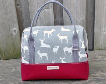 Knit Night Bag in grey deer print cotton with red canvas, Wire frame project bag for knitting or crochet on the go, Retreat Bag