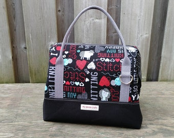 Knit Night Bag in Knitting theme print with black canvas, Retreat Bag, Wire frame project bag for knitting or crochet on the go