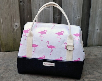 Knit Night Bag in heavy denim and pink flamingo print cotton, Wire frame project bag for knitting or crochet on the go, Retreat Bag