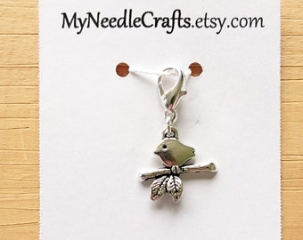 Bird on a Limb Progress Keeper, Knitting Marker, Crochet Stitch Marker, Removable Stitch marker, Zipper Pull for your Project Bag