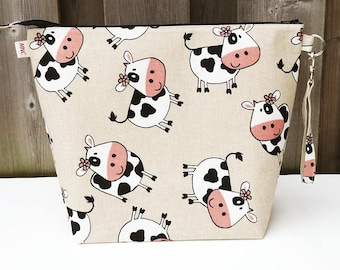 Project Bag in Cow print cotton, Shawl size Knitting Bag, Zippered Knitting Bag, Project Bag, Wedge Knitting Tote, Zipper Pouch