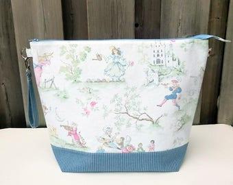 Nursery Rhyme Print Knitting Bag, Zipper Knitting Bag, Project Bag, Sweater size Knitting Bag, Wedge Knitting Tote