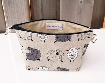 Sheep Print Zippered Pouch for Knitting Notions, Small Wedge Knitting Bag in Natural Beige Linen / Cotton with Sheep