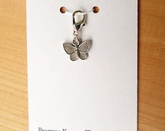 Butterfly Progress Keeper, Knitting Marker, Crochet Stitch Marker, Removable Stitch marker, Zipper Pull for your Project Bag