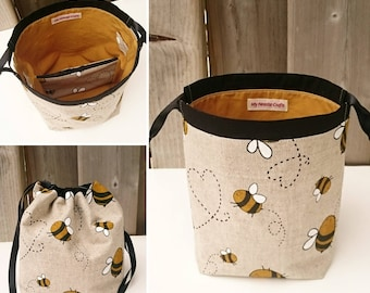 Bumblebee Print Linen Knitting Bag, Project Bag for two at a time sock knitting