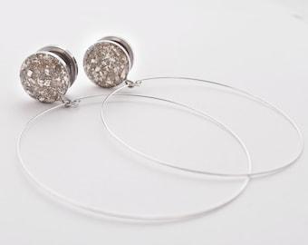 Silver Crushed Glass Hoop Dangle Plugs / 16g, 10g, 8g, 6g, 4g, 2g, 0g, 00g, 7/16, 1/2, 9/16, 5/8, 11/16, 3/4, 7/8, 1 in /  Hoop Earrings