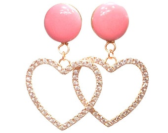 Sweet Pink CZ Heart Dangle Plugs / 16g, 10g, 8g, 6g, 4g, 2g, 0g, 00g, 7/16, 1/2, 9/16, 5/8, 11/16, 3/4, 7/8, 1 in / Gift / Romance / Love