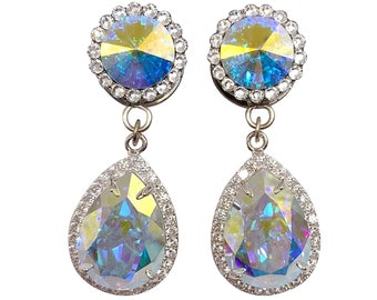 AB Swarovski All Crystal Teardrop Dangle Plugs / 6g, 4g, 2g, 0g, 00g, 7/16, 1/2, 9/16, 5/8, 11/16 in / Bride Gauges Wedding Plugs