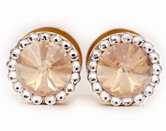 Gold Champagne Swarovski Crystal Plugs / 2g, 0g, 00g, 1/2, 9/16, 5/8, 11/16 inch /Bride Gauges Wedding Plugs /Sparkle Gold Champagne Plugs