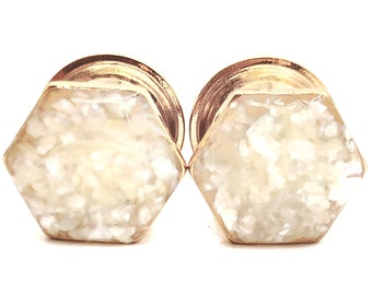 Pearl Crushed Shell Hexagon Plugs / 8g, 6g, 4g, 2g, 0g, 00g, 1/2, 9/16, 5/8, 3/4, 7/8, 1 inch / Wedding Handmade Gauges / Double Flare