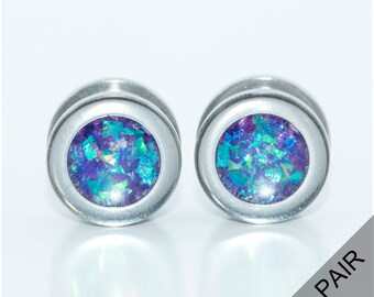 Silver and Purple holographic plugs / 4g, 2g, 0g, 00g, 7/16, 1/2, 9/16, 5/8, 11/16, 3/4, 7/8, 1 inch / purple gauges / screw on