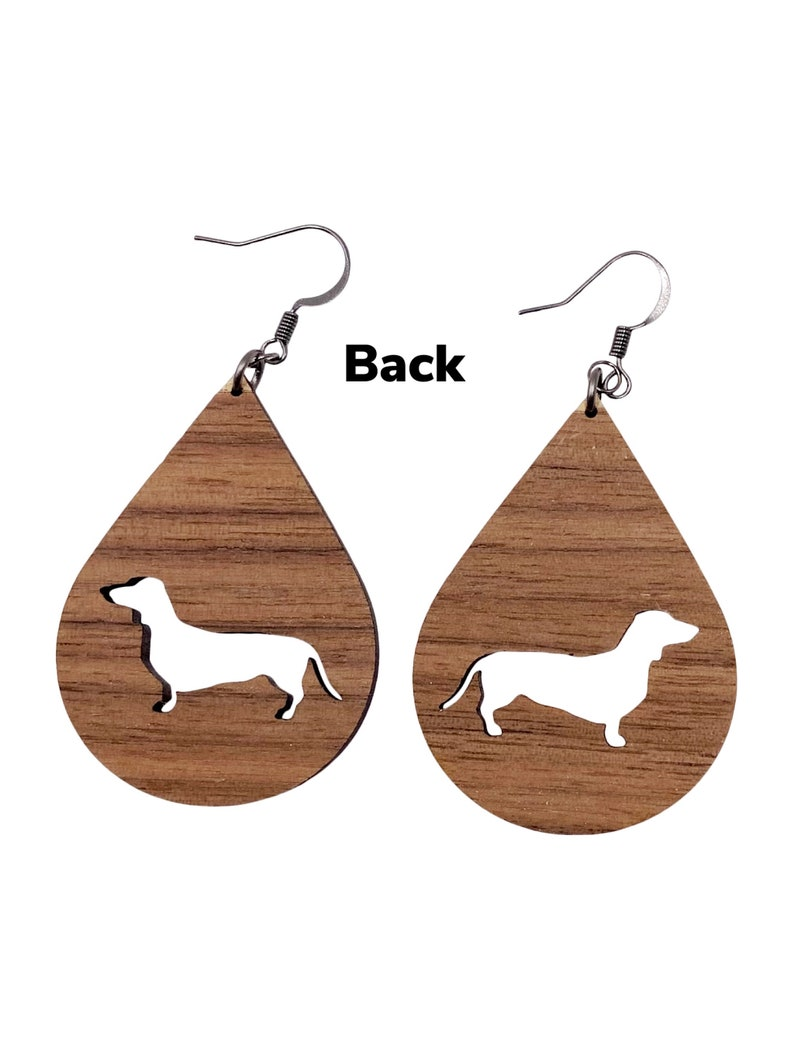 Custom Dog Breed Wood Cutout Earrings  Unique Earrings  Nickel Free Ear Wire  Natural Jewelry Lightweight Large Statement  Gift