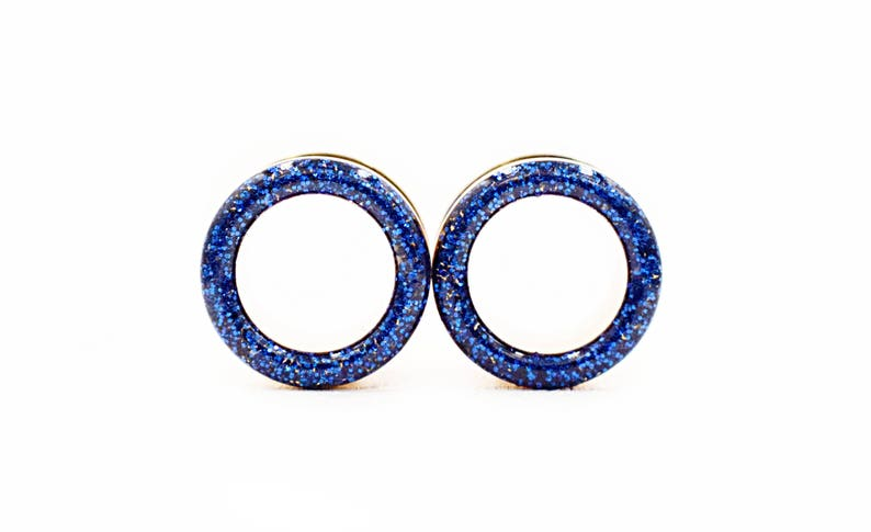 7//8 Pink//Blue Pair of Glass Single Flared Two Color Foil Galaxy Plugs