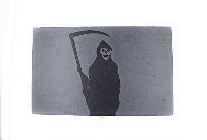 Grim Reaper Jewelry Box  Plug box  Hand Painted Grey and Black Grim Reaper Box  Wooden Jewelry Box  Wooden Gift Box  Rectangle