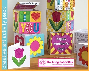Mothers Day: Make a unique Card and Keepsake Gift Box. Kids art and craft activity PDF download printable pack for home and classroom use