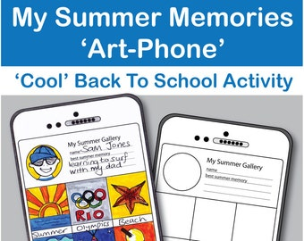 My Summer Memories 'Smart-Art Phone' art and writing activity. Kids fold out booklet 'Instagram' style art project Instant pdf download
