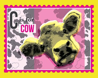 Cow Art Print in Pink &Yellow, kids room decor, children's animal print, alphabet art, C is for Cow, A4, 10 x 8 pop art print