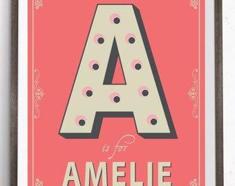 Vintage Letter Name in Lights Personalised Art Print, Vintage Nursery Wall Art, Alphabet Letters Print, Wall decor, Typography Print