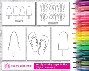 Kids summer coloring pages, printable coloring pages, flipflops and lollipops coloring pages, instant download flipflops coloring pages