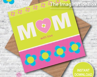 Card for Mum, digital download, instant download, greetings card, mum card, mom card, mother, card for mother, birthday card