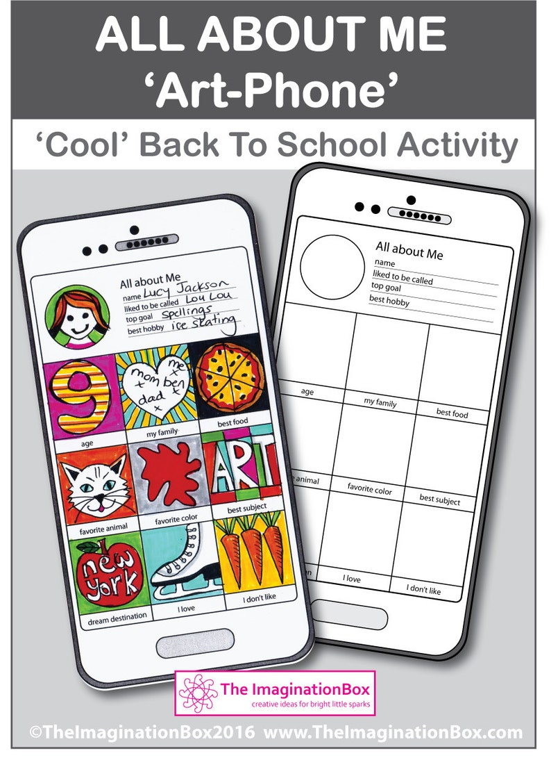 All About Me Back to School 'Smart-Art Phone' creative activity  Kids fold  out booklet 'Instagram' style art project Instant pdf download
