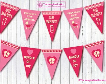 New Baby Girl Celebratory Bunting, Bunting, baby Girl gift, nursery decor, new baby gift, nursery bunting, congratulations, new baby