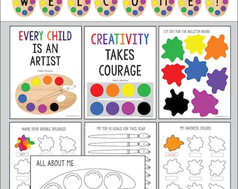 Back To School All About Me, Creative Artist activities & 'welcome' garland bulletin board pack.Classroom Instant pdf download