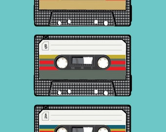 Retro Cassette Tape Art Print, Music Poster, Cassette Tape Nostalgic digital print in 3 colourways, aqua, spice and warm grey