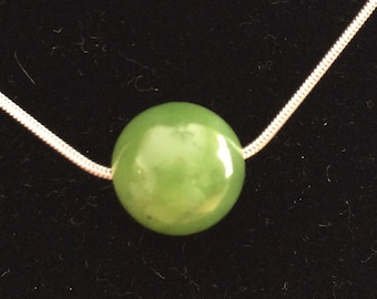 Jade in 925 Sterling Silver setting and Snake Chain Necklace by Nancy Capers